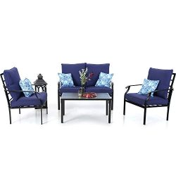 PHI VILLA Metal 4 Piece Outdoor Patio Furniture Padded Conversation Set with 1 Loveseat, 2 Chair ...