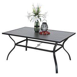 PHI VILLA Outdoor Patio 60″x38″ Rectangular Dining Table for 6 Person with Umbrella  ...