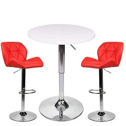 YOURLITEAMZ Bar Table Set of 3 – Adjustable Round Table and 2 Swivel Pub Stools for Home K ...