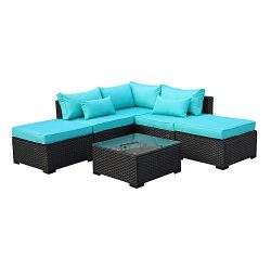 Rattaner Outdoor Wicker Sofa Set- 6 Piece Patio Garden Sectional PE Rattan Furniture with Turquo ...