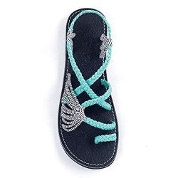 Plaka Palm Leaf Flat Summer Sandals for Women | Perfect for The Beach Walking & Dressy Occas ...