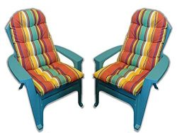 RSH Décor Set of 2 Outdoor Tufted Adirondack Chair Cushion – Bright Colorful Stripe