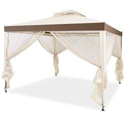 Tangkula 10'x 10′ Canopy Gazebo Tent Shelter Art Steel Frame Garden Lawn Patio House ...