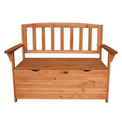 Multifunctional Fir Wood Courtyard Armchair with Large Storage Capacity Box Garden Chair Bench w ...