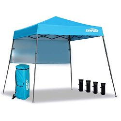 EzyFast Ultra Compact Backpack Canopy, Pop Up Shelter, Portable Sports Cabana, 7.5 x 7.5 ft Base ...