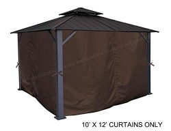 APEX GARDEN Universal Privacy Curtain Set for 10′ x 12′ Gazebo (Brown)