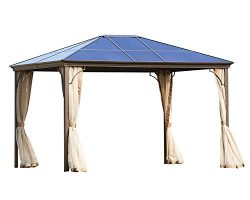 Outdoor Garden Gazebo 12 x 10 FT Patios Gazebo Beige Canopy Permanent PVC Hardtop Mosquito Netti ...