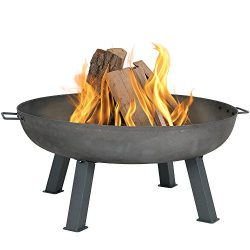 Sunnydaze Cast Iron Outdoor Fire Pit Bowl – 34 Inch Large Round Bonfire Wood Burning Patio ...