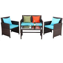 Do4U Outdoor Patio Furniture Set 4 Pcs PE Rattan Wicker Garden Sofa and Chairs Set with Turquois ...