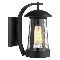 Zeyu Exterior Wall Light Fixture, 13 Inch Outdoor Wall Sconce Wall Lamp for Porch Patio, Black F ...