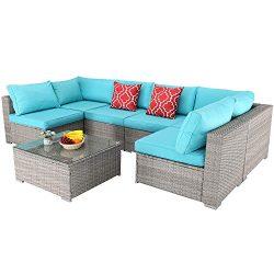 Furnimy 7 PCS Outdoor Patio Furniture Set Cushioned Sectional Conversation Sofa Set Rattan Wicke ...