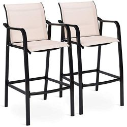 COSTWAY Set of 2 Bar Stools, Counter Height Stool, Steel Frame Sling Dining Chairs for Indoor Ou ...