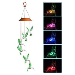 Afirst Hummingbird Wind Chimes 25.6 inches Outdoor Solar Color Changing LED Lights Wind Mobile f ...