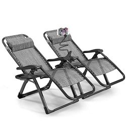 Rimdoc Zero Gravity Chair Oversized 2 Pack Folding Camping Chairs 40mm Thick Frame XL Recliners  ...