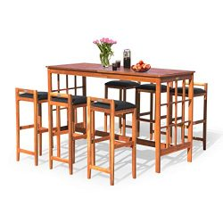 Tangkula 7-PCS Patio Bar Set, Outdoor Wooden Dining Table Set with 6 stools, Space Saving Conver ...