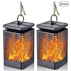 Solar Lantern Lights Dancing Flame Waterproof Outdoor Hanging Lantern Solar Powered Umbrella LED ...