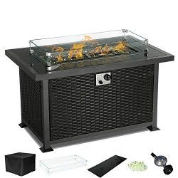 Yamadao CSA Gas Propane Patio Fire Pit Table Rectangular Outdoor Table with Fire Pit, Auto-Ignit ...