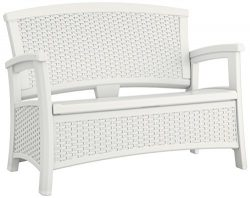 Suncast BMWB5000W EMW8863250 Elements Loveseat with Storage-Lightweight, Resin, All-Weath, White