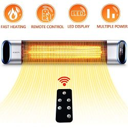 SURJUNY Electric Outdoor Heater, Outdoor Wall-Mounted Infrared Patio Heater with LED Display and ...