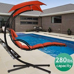 Hammock Chair Hanging Chair Lounge Chairs Outdoor Porch Swing Arc Stand with Canopy Umbrella and ...