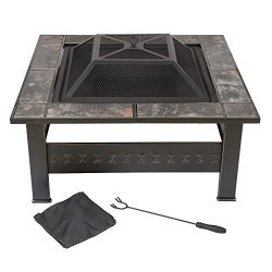Fire Pit Set, Wood Burning Pit -Includes Screen, Cover and Log Poker- Great for Outdoor and Pati ...