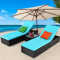TUSY 3 Pieces Patio Chaise Lounge Sets, Outdoor Rattan Lounge Chairs with Coffee Table, Adjustab ...