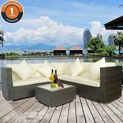 Merax Patio Furniture Set,4 PCS Outdoor Conversation Set Outdoor Furniture Sofa PE Rattan Wicker ...