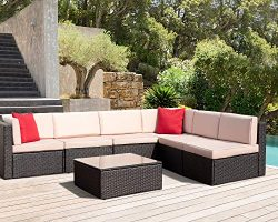 7 Pieces Patio Furniture Sets PE Wicker Rattan Outdoor Sectional Garden Set All-Weather Lawn Con ...