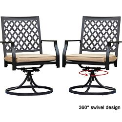 Top Space Outdoor Swivel Chairs Patio Rocker Lounge Chair Metal Bistro Set Club Arm Chair Dining ...
