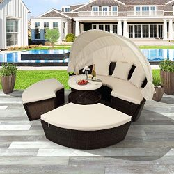 LZ LEISURE ZONE Outdoor Patio Furniture Sets, All-Weather PE Rattan Wicker Round Daybed Sectiona ...