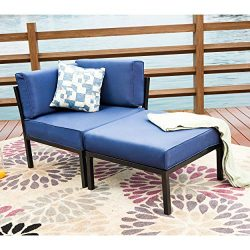 LOKATSE HOME 2 Piece Patio Sectional Furniture Set Outdoor Armchair Corner Sofa with Ottoman, 2P ...