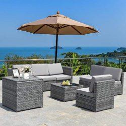 Tangkula 8 PCS Outdoor Patio Furniture Set, Rattan Wicker Sofa Set, Sectional Sofa Couch Convers ...