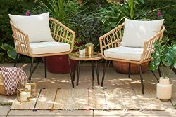 Quality Outdoor Living 65-YZSP02 Hermosa 3 Piece Chat Set, Tan Wicker + Light Beige Cushions