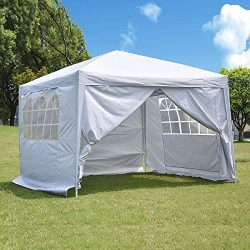 charaHOME 10 x 10 ft Heavy Duty Ez Pop Up Gazebo Canopy Tent for Outdoor Waterproof Party Weddin ...