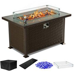 PIEDLE Outdoor Propane Gas Fire Pit Table,44-inch 50,000 BTU Patio Fire Table, Black Tempered Ta ...
