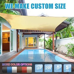 Amgo 12′ x 12′ Beige Square Sun Shade Sail Canopy Awning, 95% UV Blockage, Water &am ...