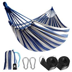 Anyoo Single Cotton Outdoor Hammock Multiples Load Capacity Up to 450 Lbs Portable with Carrying ...