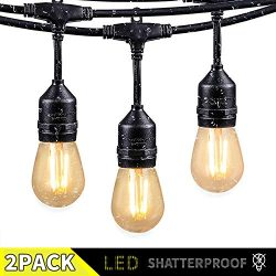 2 Pack 48FT Outdoor String Lights with 15 Shatterproof LED S14 Edison Bulbs-UL Listed Commercial ...