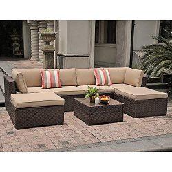 SUNSITT 7 Piece Outdoor Sectional Patio Rattan Furniture Set, Brown Wicker Conversation Sofa Set ...