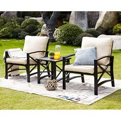 LOKATSE HOME 3 Piece Patio Conversation Set Outdoor Furniture with Coffee Table, Beige Cushions