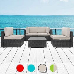 Walsunny 5pcs Patio Outdoor Furniture Sets,Low Back All-Weather Rattan Sectional Sofa with Tea T ...