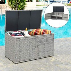 Tangkula Outdoor Wicker Storage Box, Garden Deck Bin with Steel Frame, Rattan Pool Storage Box w ...