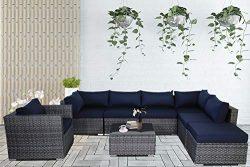 Patio Conversation Furniture Set 8-Piece Gray PE Wicker Navy Cushion Fashion Color Rattan Sofa O ...