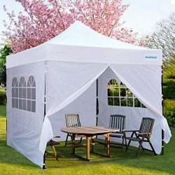 GALSOAR Outdoor Canopy, 10′ x 10′ Pop Up Canopy with Sidewalls, Portable Folding Can ...