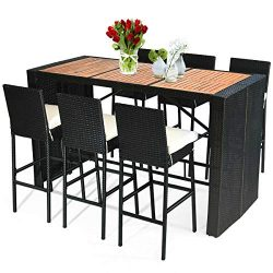 Tangkula 7 PCS Outdoor Dining Set, Patio Wicker Furniture Set with Acacia Wood Table Top and Rem ...