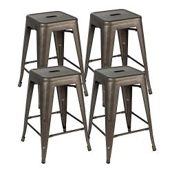 Bonzy Home Bar Stools Set of 4, 24 inches Metal Bar Stool Chair, Stackable Counter Height Barsto ...