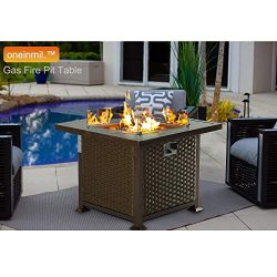 oneinmil Gas Fire Pit Table – 32-Inch Outdoor Propane Fire Pit Table with Fire Glass & ...