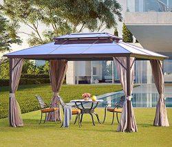 YOLENY 10'x13′ Outdoor Polycarbonate Double Roof Hardtop Gazebo Canopy Curtains Alum ...