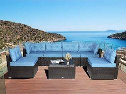 Urest Patio Furniture Sets 7 Pcs Rattan Furniture Chair Wicker Set,Outdoor Indoor Use Backyard P ...