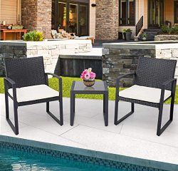 Crownland Patio Outdoor Furniture 3 Piece Black Wicker Patio Bistro Conversation Set for Backyar ...